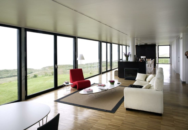 Living room design with a view of the nature