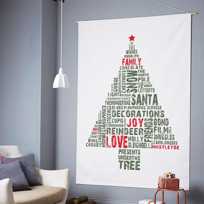 Christmas tree artificially artificial Christmas tree test by wall textile printing
