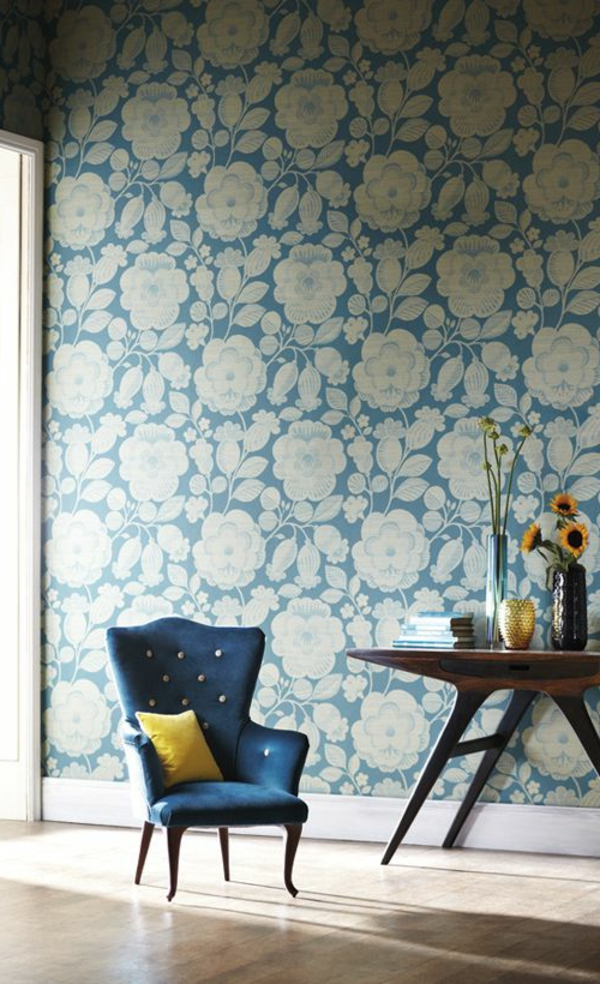 floral wallpaper blue white armchair side table