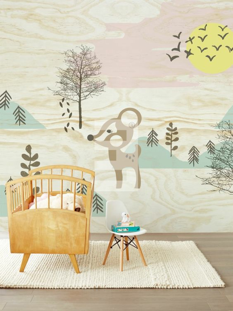 Pattern wallpaper deer in the forest Design wallpapers for nursery