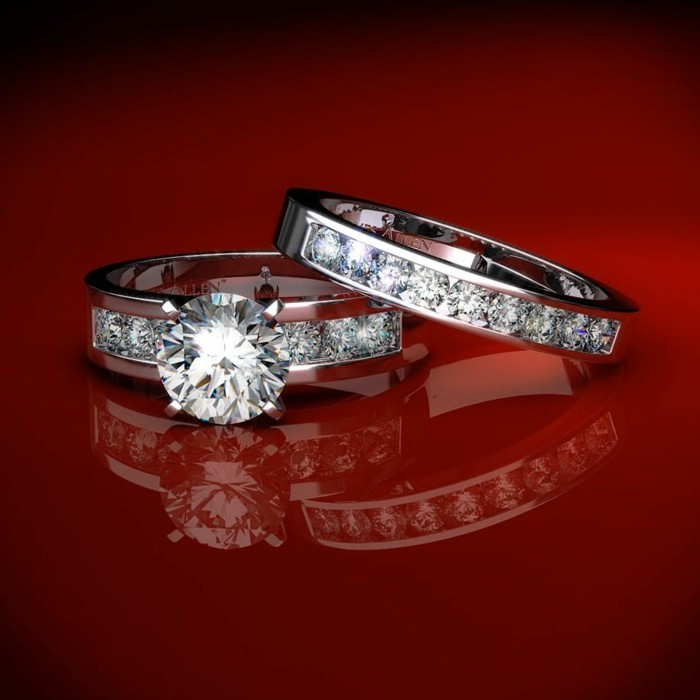 Wedding rings in a glamorous style