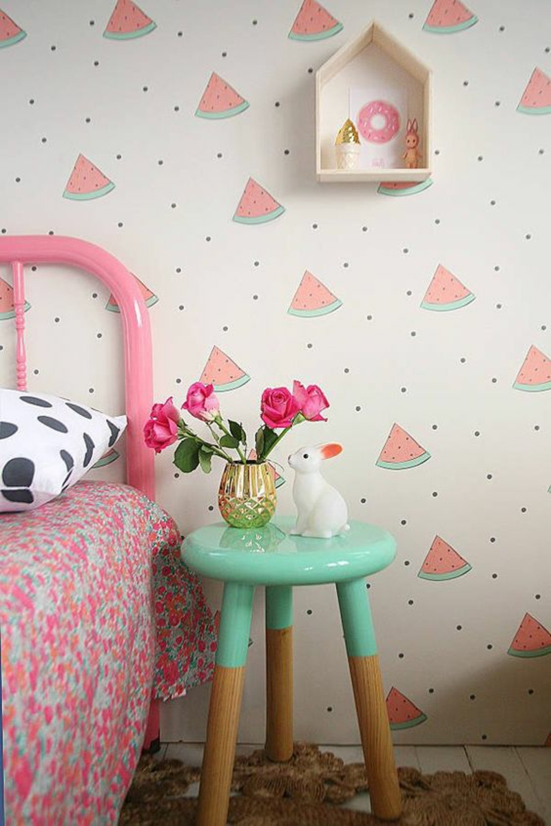Wallpaper nursery watermelons pattern pink side table