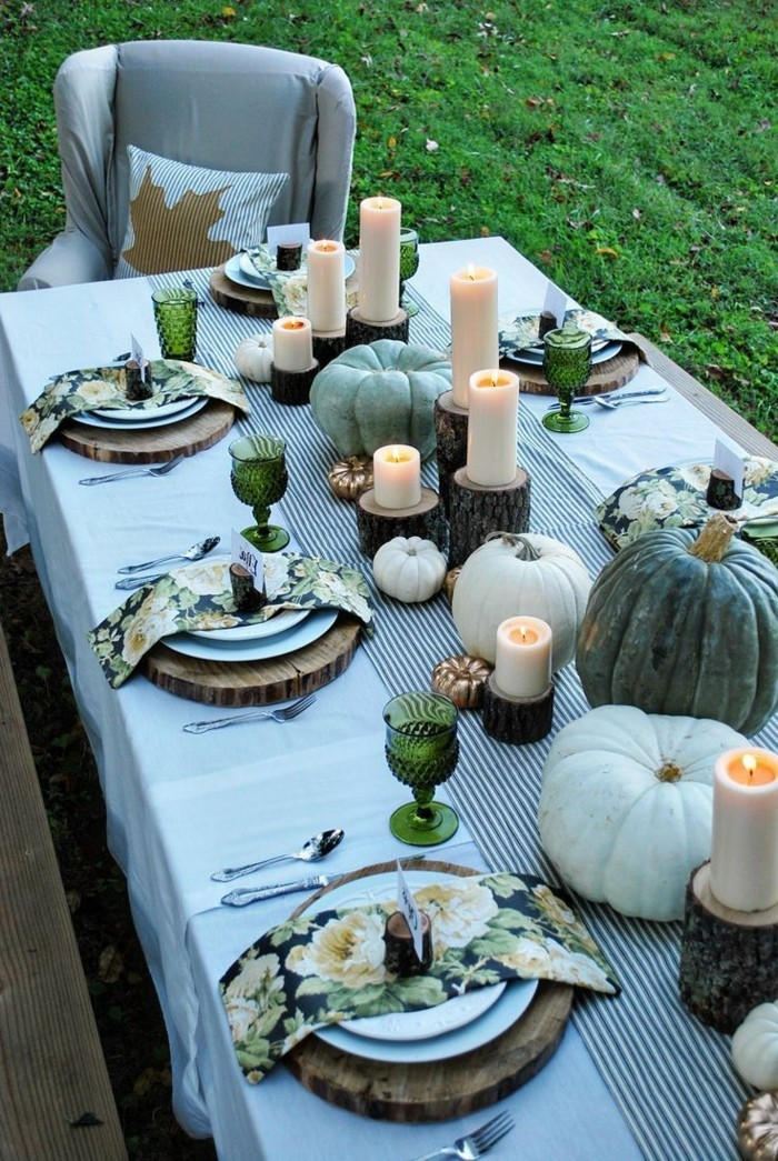 table decoration for the garden party in autumn
