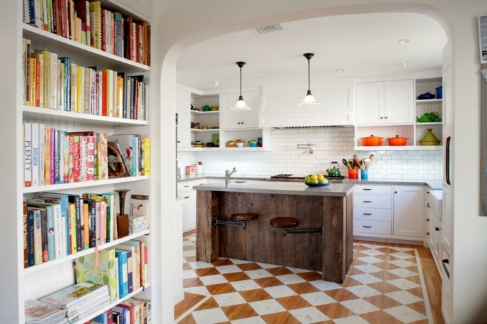 kitchen equipment wall shelves book decoration beautiful flooring