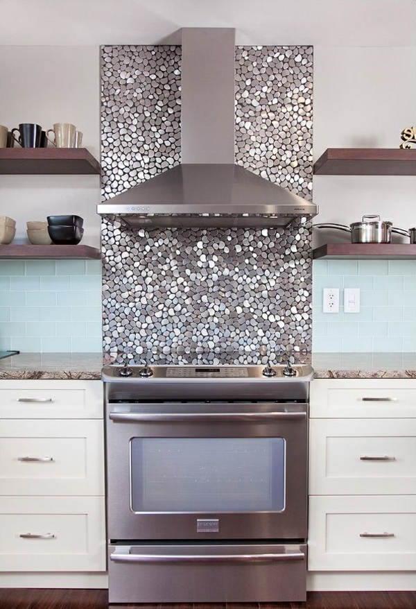 kitchen accent wall silver shiny