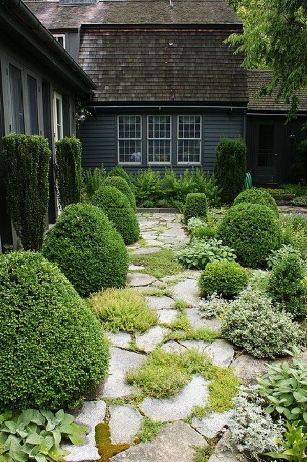 gardening pictures stone pavement grass plants house