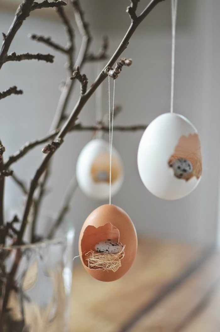 decorating easter egg shells hanging branches