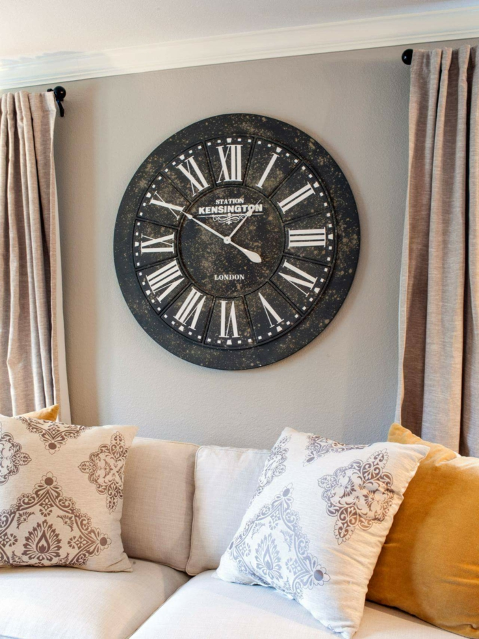 wall clock vintage wall decor living room beige curtains
