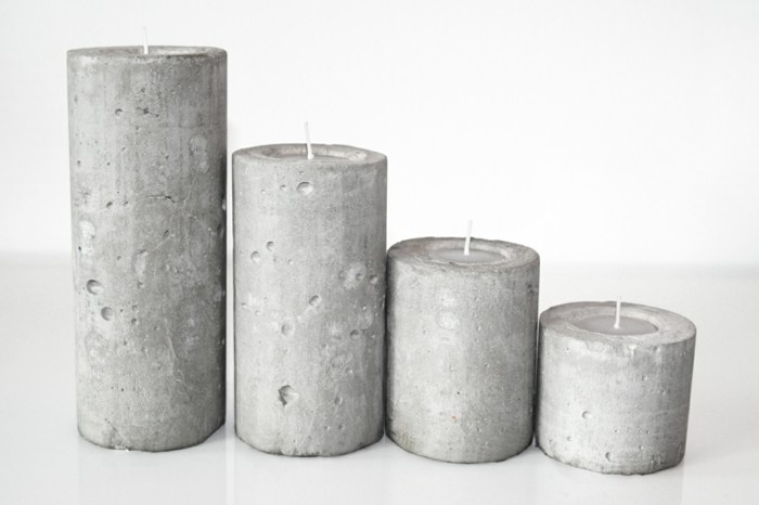 candles made of concrete decoration
