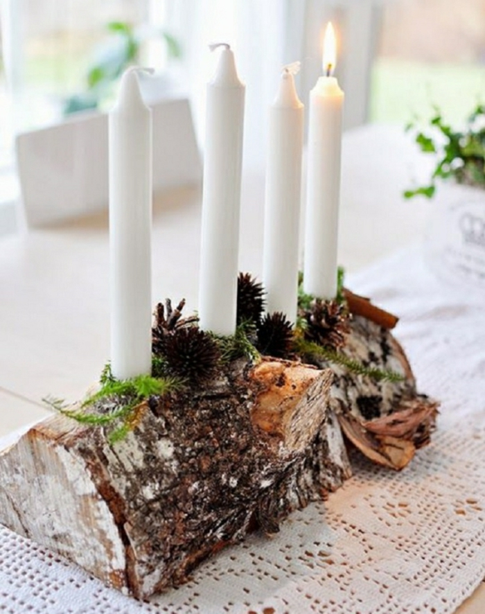 Cross section of wood white candles