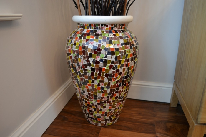 fancy home accessories floor vase mosaic design