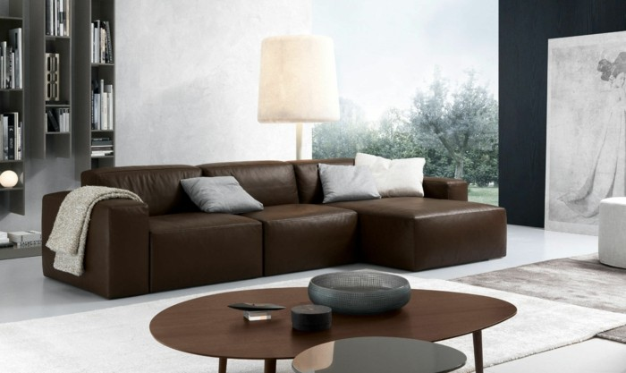 brown leather sofa in scene 14