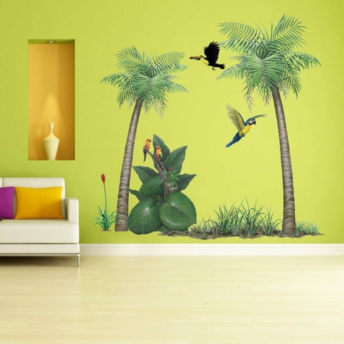 wall decals tree palms green wall colored throw pillow