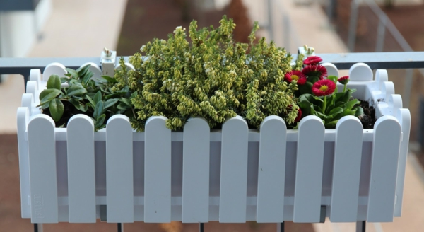 balcony flower box design white elegant