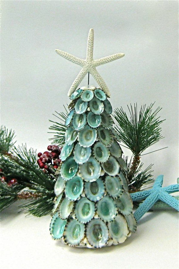 christmas decoration fir trees from shells poinsettia star