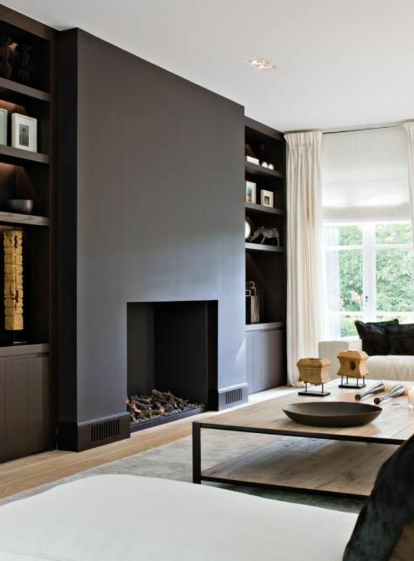 Accent wall with fireplace living room design