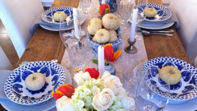 Photo of Table decoration in blue for weddings, anniversaries and other festive occasions
