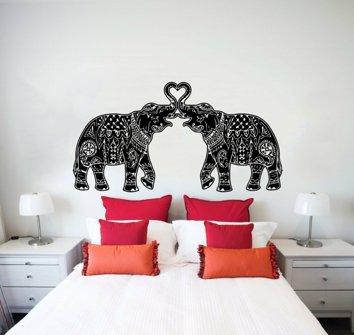 wall tattoos bed headboard cool wall design living ideas bedroom