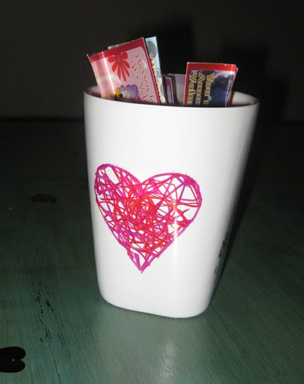 DIY decoration with children's drawings heart paint mug