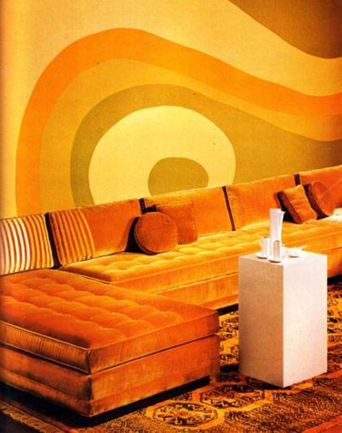 wall colors ideas furnishing examples wood orange white 70s