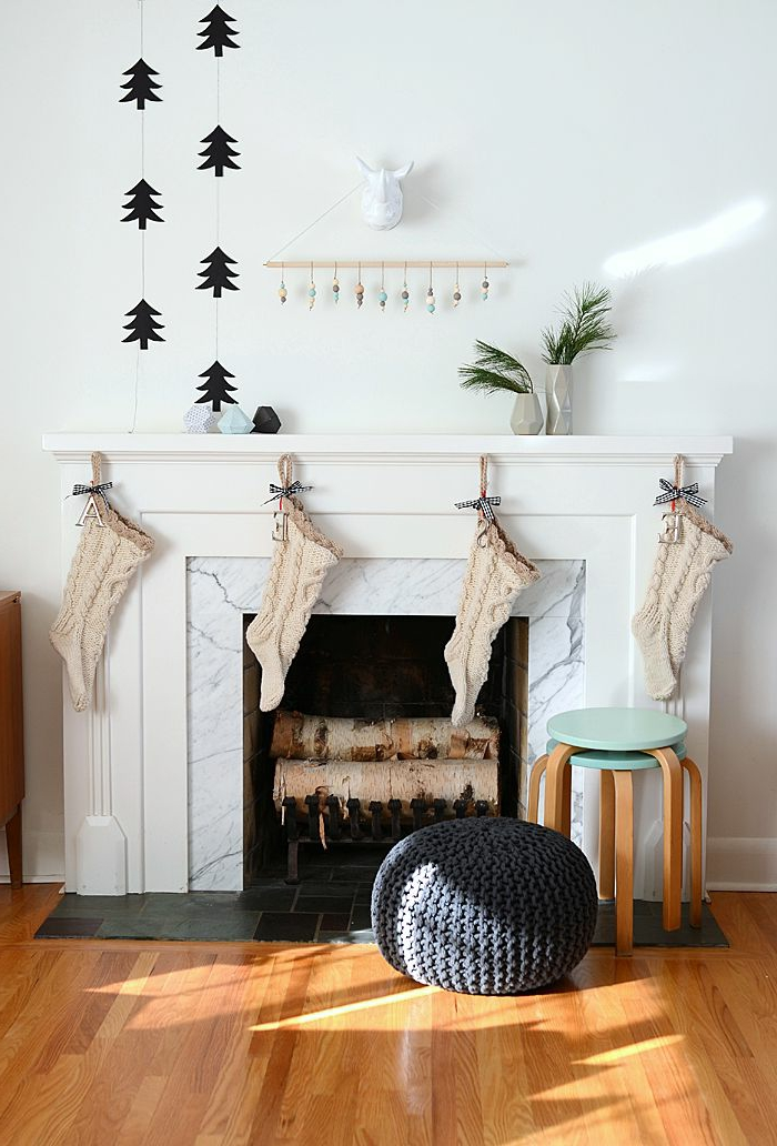 Christmas decorations Scandinavian style living room fireplace decorating
