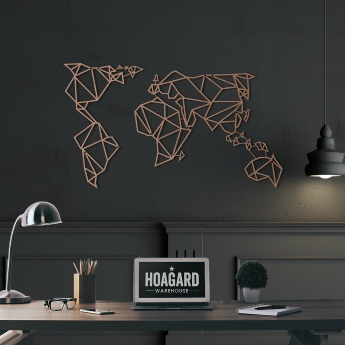 Concept world map wall