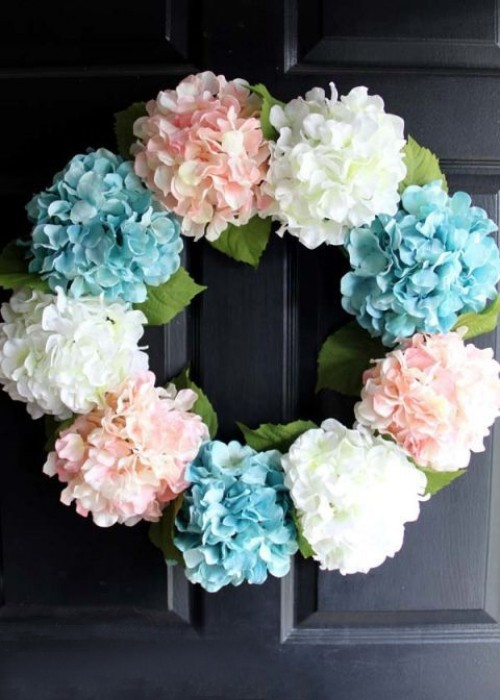 Flower wreath hydrangea delicate colors decorate front door