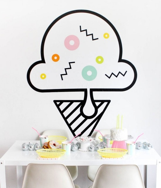 wall decoration ideas party ice cream wall stickers