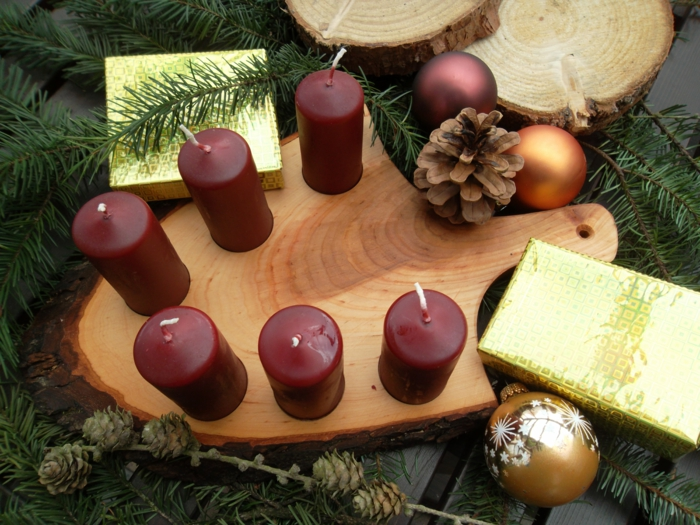 oval wooden platform advent wreath idea