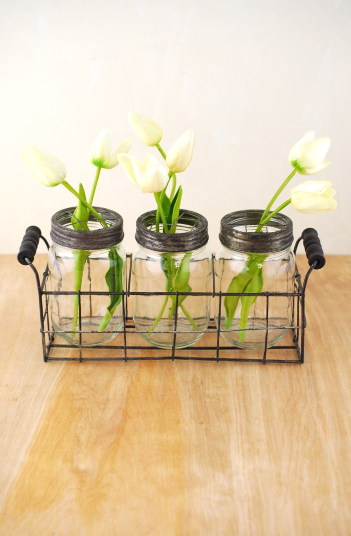 decorative flowers vases jars of tulips
