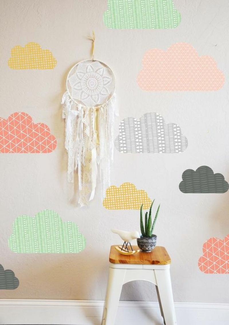 Wallpaper nursery colorful clouds wallpaper pattern