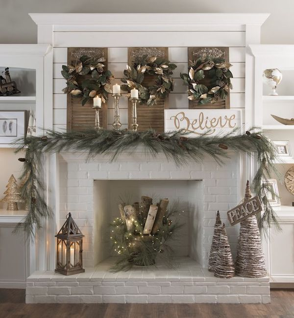 Decorate the mantel and wall surface above