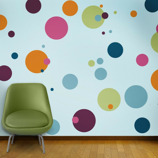 painting mural children's room colored circles on the wall