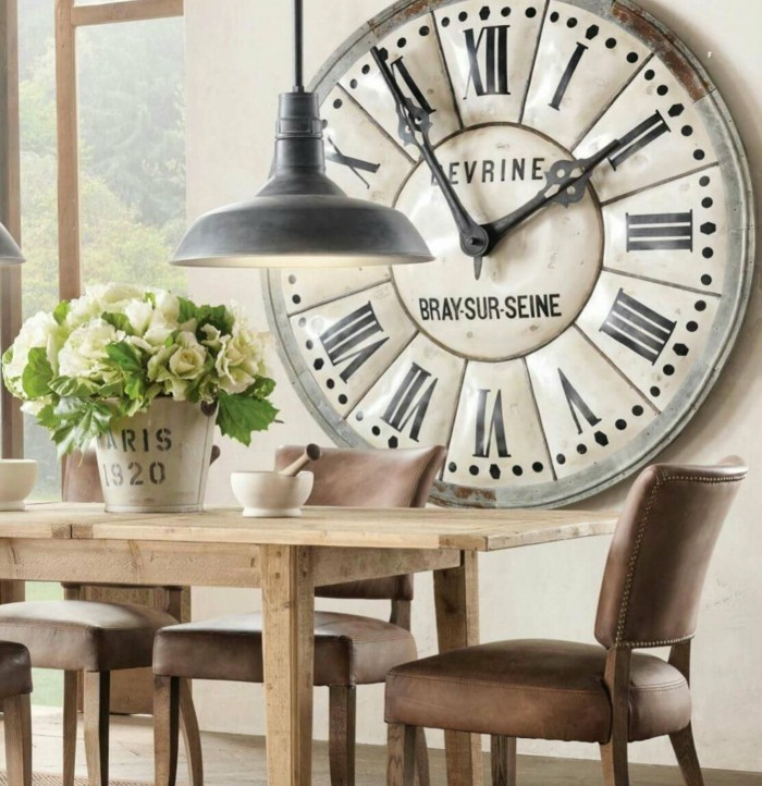 deco ideas vintage wall clock floral deco wooden dining table