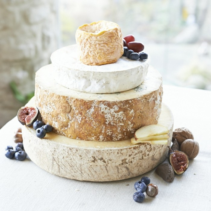 wedding cake made of different cheeses