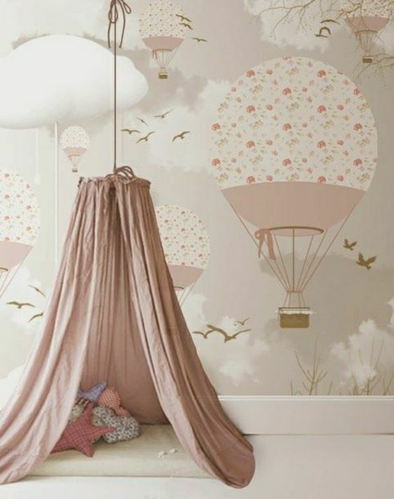 Pattern wallpaper gas balloon pink wallpaper for nursery girl