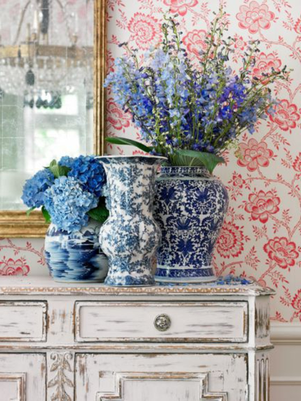 dresser vintage wallpaper floral elements