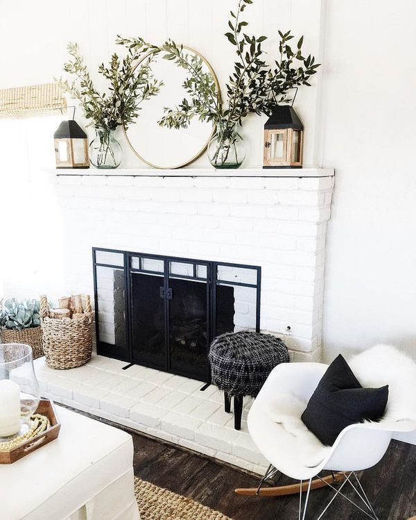Fireplace mantel decorate wall mirror