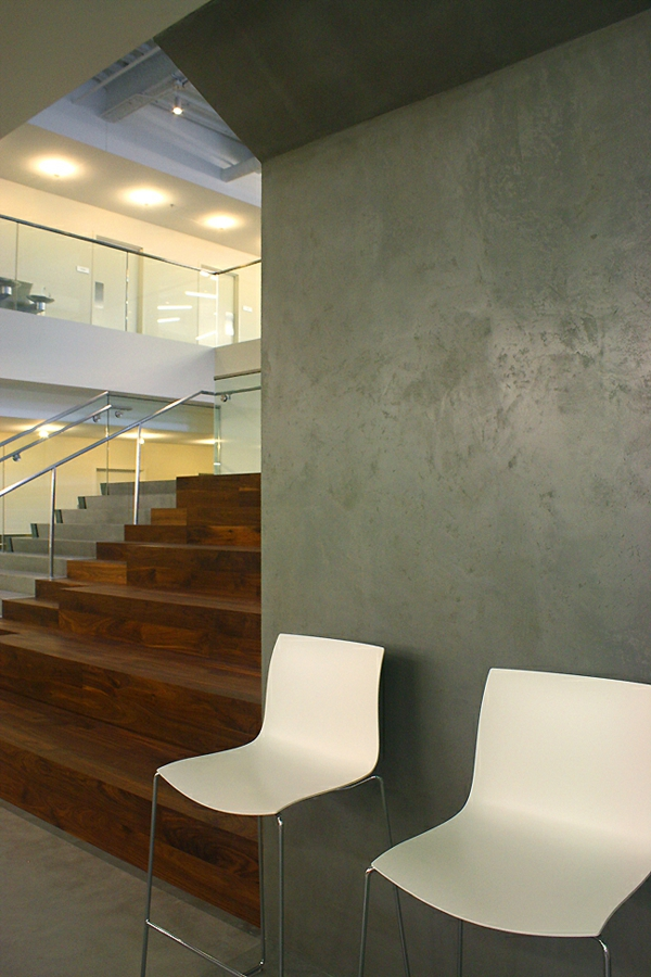 Wall color with concrete look chairs white