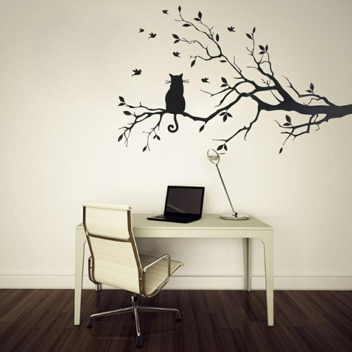beautiful wall decals decorating tree branches at workplace