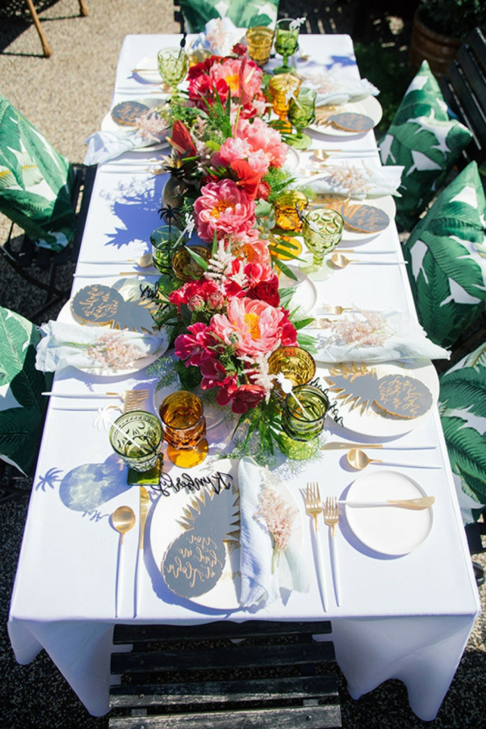 summer party decoration table decorating ideas flowers tableware