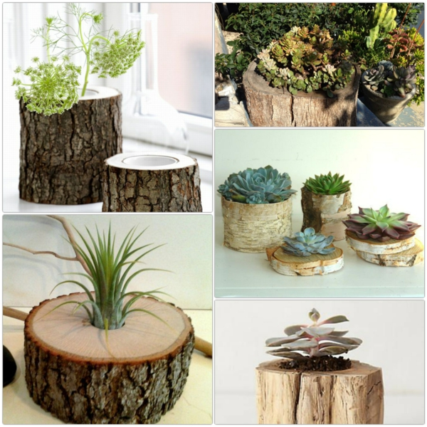 tree trunk decoration diy projects planter ideas