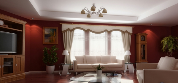 Living room red white color combinations