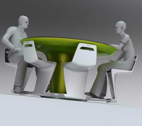 Mobile modular mini kitchens green table chair