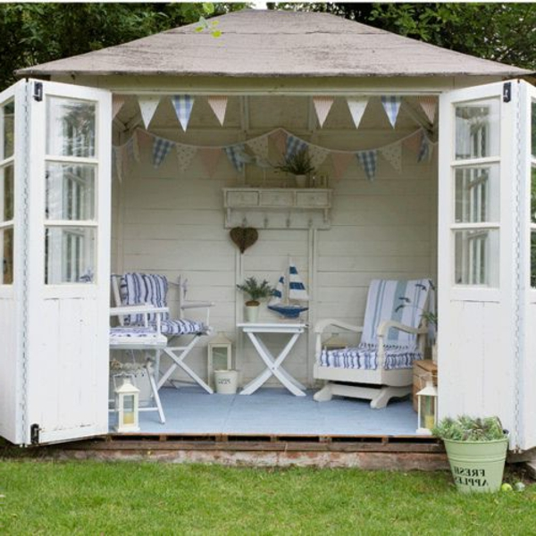 garden gazebo maritime wood white blue