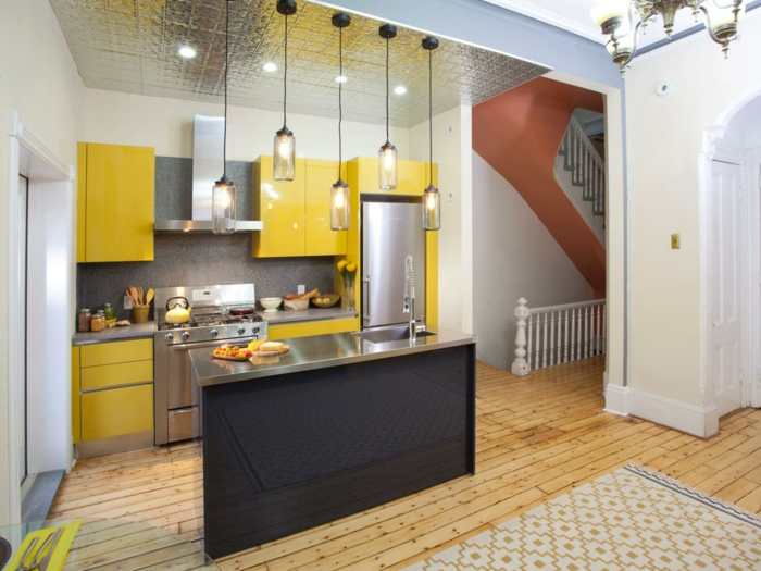 small kitchen set up yellow accents pendant lights cool ceiling