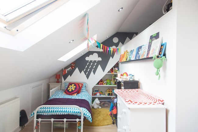 Set up a small nursery attic room