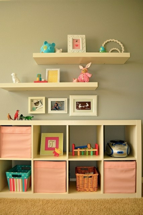 baby room open wall shelves colored boxes