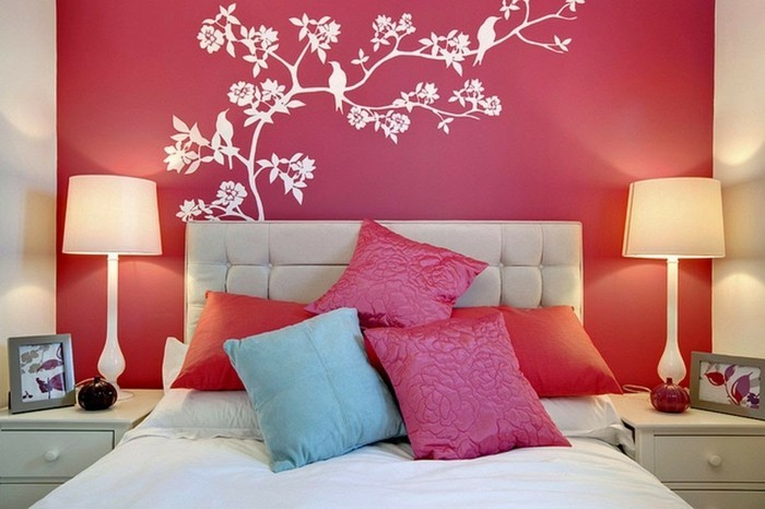 wall decoration ideas youth room orange accent wall white wall decals