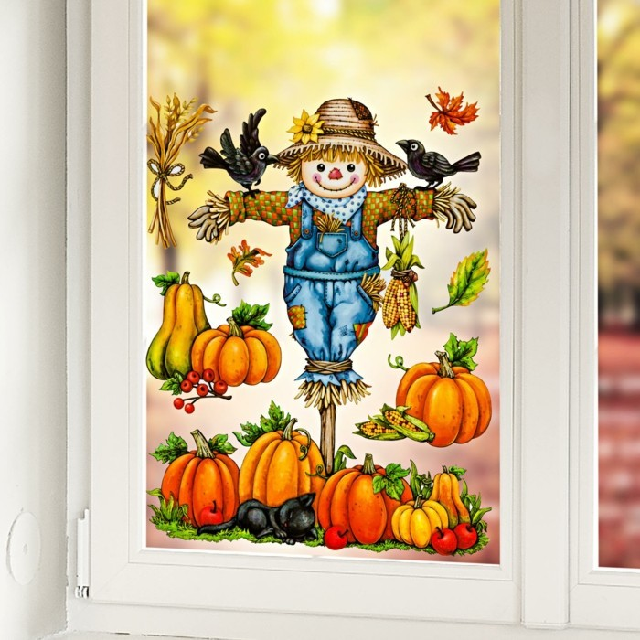 Make windowpaintings with children scarecrow
